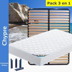 ENSEMBLE LITERIE Chypre - Pack Matelas + Lattes 140x190 + Pieds