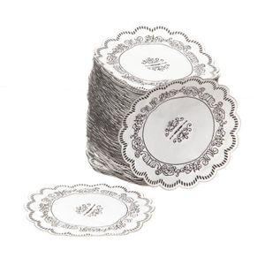SET DE TABLE JETABLE Dessous de verre rond décoré avec ornement noir 8