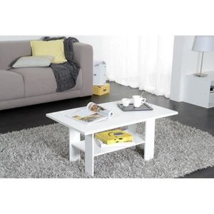 TABLE BASSE HOME Table basse style contemporain blanc - L 90 x