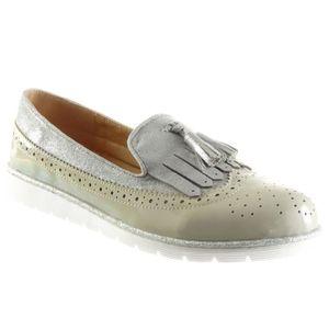 Angkorly - Chaussure Mode Mocassin slip-on femme lanière Talon bloc 2.5 CM - Gris - XH1010 T 39 zNexnLL