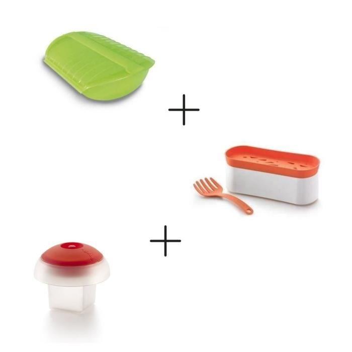 Pack Rapidité au micro-ondes: Coffret papillote + Pasta cooker + Cuit Œuf