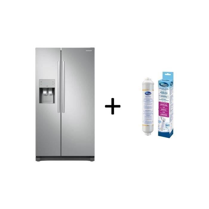 Pack SAMSUNG Réfrigérateur américain - 501 L (357 + 144 L) Inox + PACK Filtre Universel USC100 et Th
