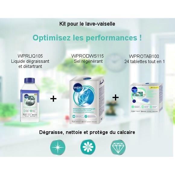 Pack Kit Lave vaisselle - Liquide dégraissant + 24 tablettes tout en 1 + Sel régénérant