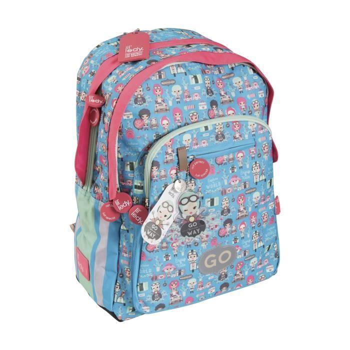 KID'ABORD LIL'LEDY Sac à Dos Borne - 2 Compartiments - 6 à 9 ans - Classe primaire et élémentaire - Turquoise - 31cm - Enfant Fille