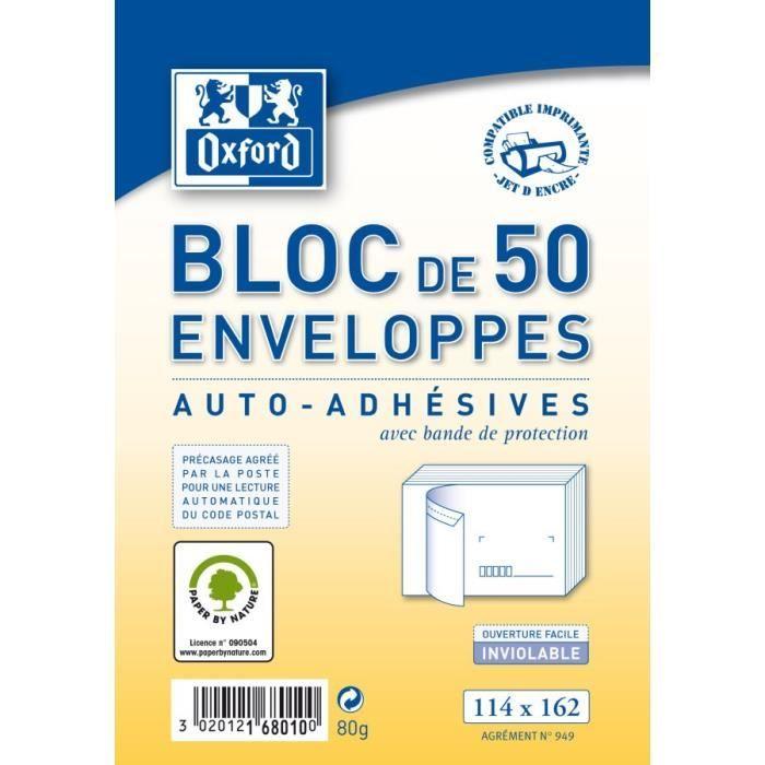 OXFORD Bloc de 50 enveloppes pré-casées auto-adhésives - 16,2 cm x 11,4 cm x 2 cm - 80g