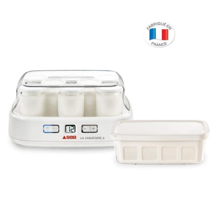 SEB YG500100 Yaourtière «  la Yaourtière » 2 - 8 pots en verre et 1 bac 1 L - Blanc