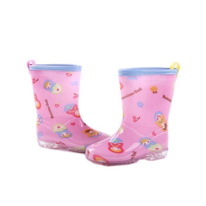 Mode bottes de pluie / enfant botte de pluie, Matriochka rose / 19.5 cm