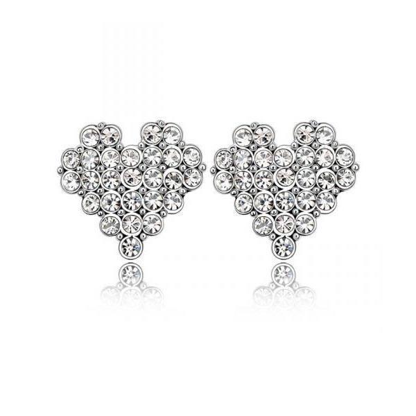 Boucles dOreilles Coeur Cristal Swarovski Elements Blanc