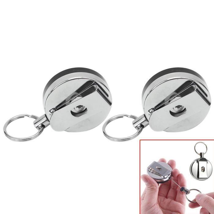 Porte Badge En Metal Roller Clip Pince Retractable Carte DIdentite Visiter Support 2 Pcs