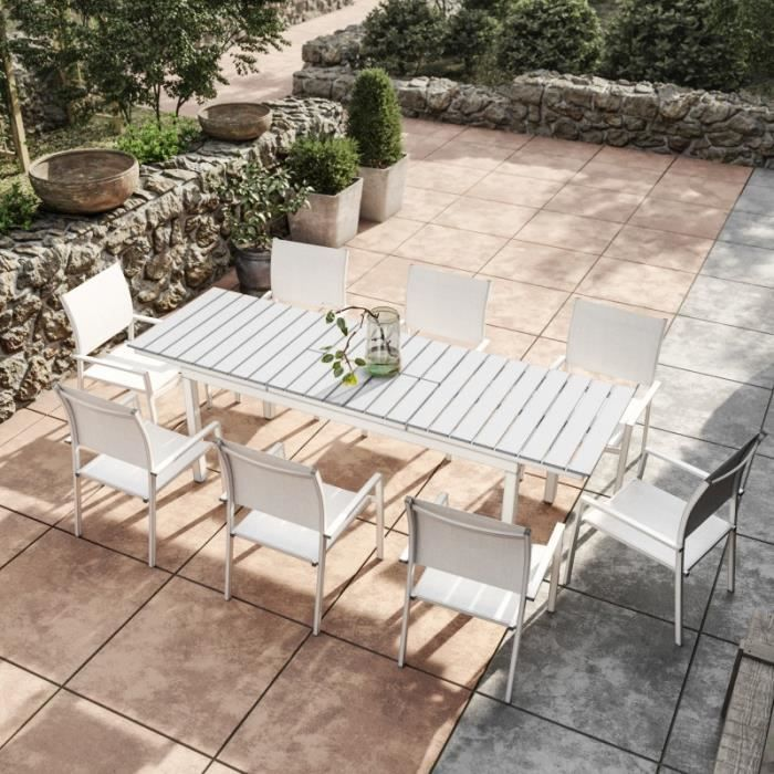 Table de jardin extensible aluminium blanc gris 180-240cm + 8 ...
