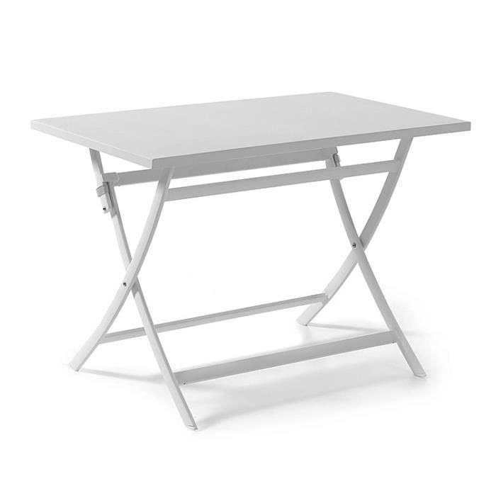 Table pliante rectangulaire en alu blanc 110 x 70 cm Grace - Achat ...