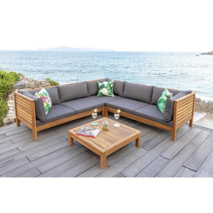 Salon de jardin 1 table avec 1 canap modulable de 3 for Ensemble jardin bois
