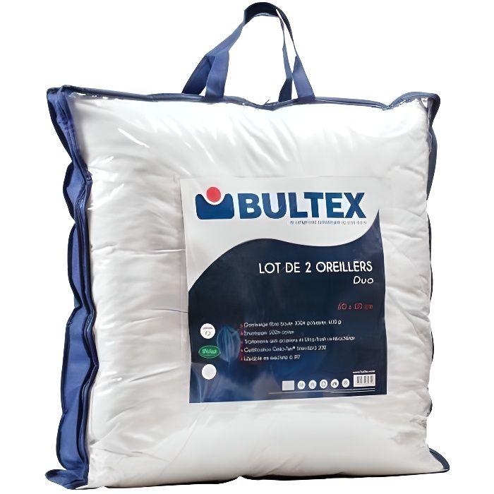 BULTEX Lot de 2 oreillers DUO 60x60 cm blanc   Achat / Vente
