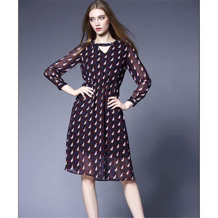 db51f861d15 Robe bohème col en V robe en mousseline de soie à manches longues ...