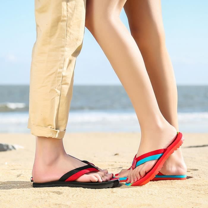 2016Couple Chaussures Sandales-Tongs Rouge