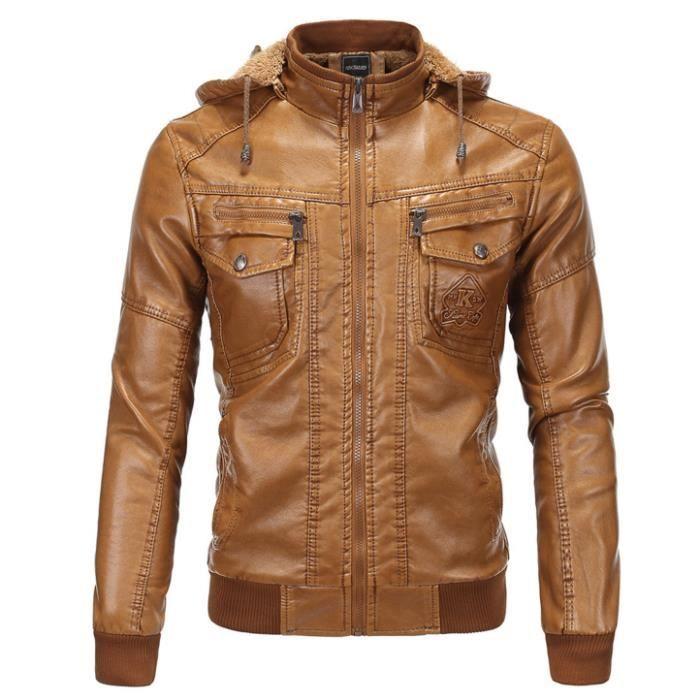 OUTAKING Blouson Slim en Cuir Homme Moto Manteau Hiver Jacket Mode Casual  Veste à capuche Brun fcc43932350e