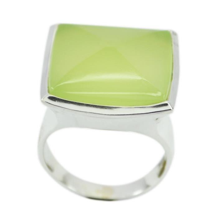 anneau prehnite - anneau vert - bague en argent - anneau dargent vert