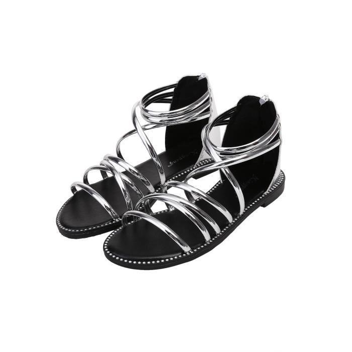 Sandales femme à bretelles à rayures contrastées 30uDW