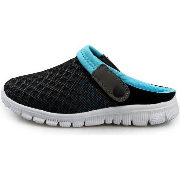 couleur n brillante vente officielle site web pour réduction Sandales en Amont Homme Sabots Respirant Tongs Claquettes Confort  Chaussures de Plage Eté Chaussures de Maille Occasionnel