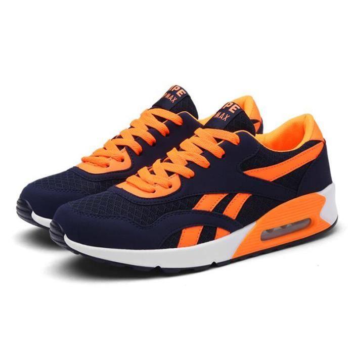 Homme Basket Chaussures de course Run Masculines Respirante Chaussures - Bleu-orange