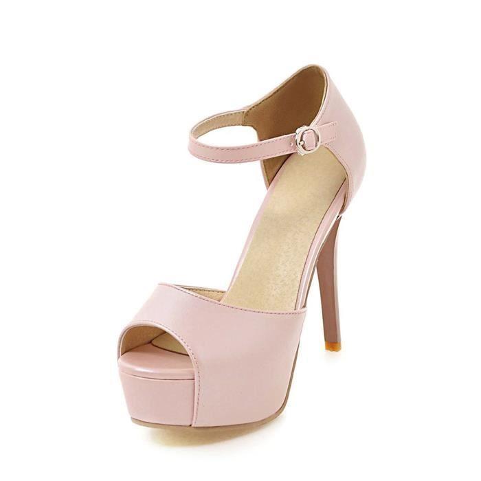 Peep Toe femmes Sandales Comfy plate-forme solide de couleur mince talon haut 4876602