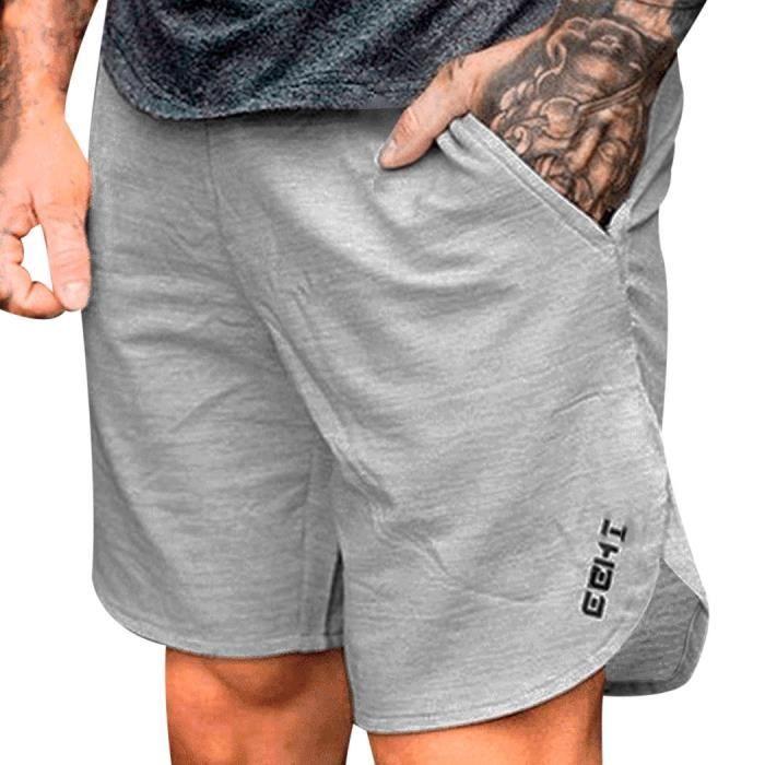 Pantalon de sport pour hommes Pantalon de culturisme en coton Fitness Short  Jogger Casual Gyms Shorts pour hommes Blanc Blanc - Achat   Vente short -  ... f128812f722