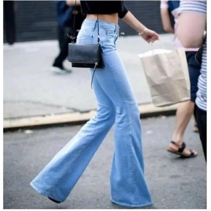 Slim À D'eléphant Femme Elastique Pattes Denim Longue Pantalon Jeans wx0IqBHx