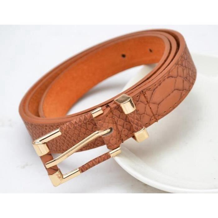 a438a56ecff ... fine ceinture noir trench rouge bracelet en cuir véritable femme.  CEINTURE ET BOUCLE Nouveau Ceintures fashion crocodile punk taille fi