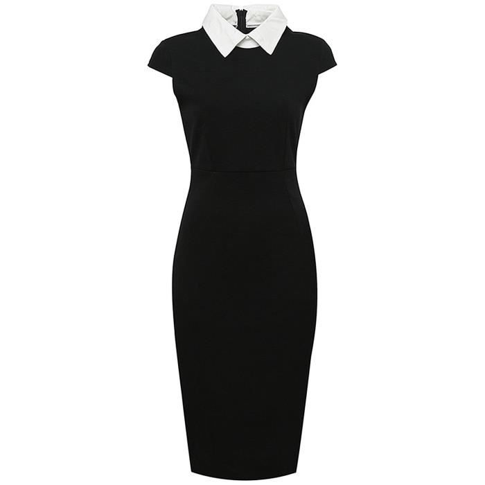 Womens Elegant Sheath With Short Sleeves Narrow Bodycon Evening Midi Dress For Business Party 2P7JPP Taille-34