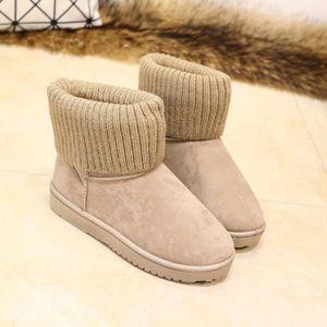 BOTTINE Chaussures kaki veloutées à ourlet de tricot et à
