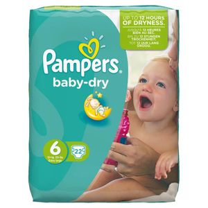 COUCHE Pampers Baby Dry Taille 6 Extra Large 15+kg Pack 2