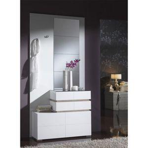 MEUBLE D'ENTRÉE Meuble d'entrée Blanc/Chêne clair + miroirs - VANA