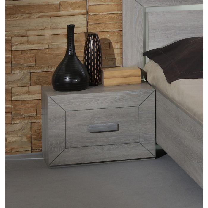 Chevet LUMEO bois gris clair 1 tiroir L55 x H38 x P40 cm - De fabrication françaiseCHEVET