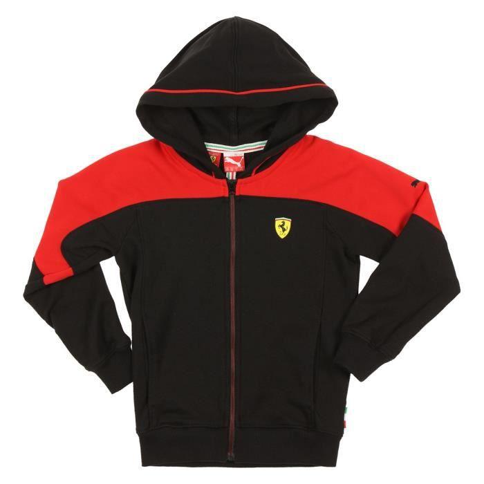 891b3e6efdd7a PUMA Veste Capuche Ferrari Enfant Garçon Noir et rouge - Achat ...