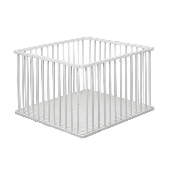 TINEO Parc bébé pliable plancher réglable blanc