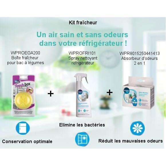 Pack Kit Fraîcheur - Spray nettoyant 500ml + Boîte fraicheur pour bac à légumes + Absorbeur d'odeurs 2 en 1