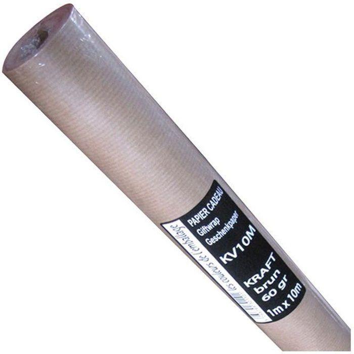 COULEURS DE L'EMBALL Papier kraft rouleau - 1 x 10 m - Brun