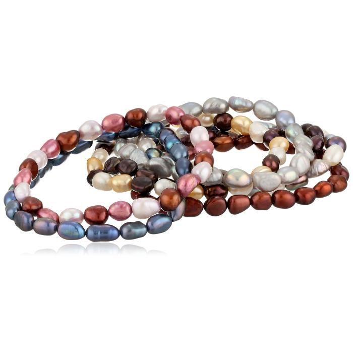 Jewel Panda Automne Dyed Tones culture deau douce Bracelet extensible Set, Set Of Seven