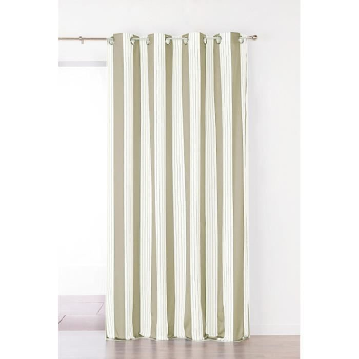 Double Rideau Rayures Polyester BEIGE 150 x 265 cm LINDER , TRES ...