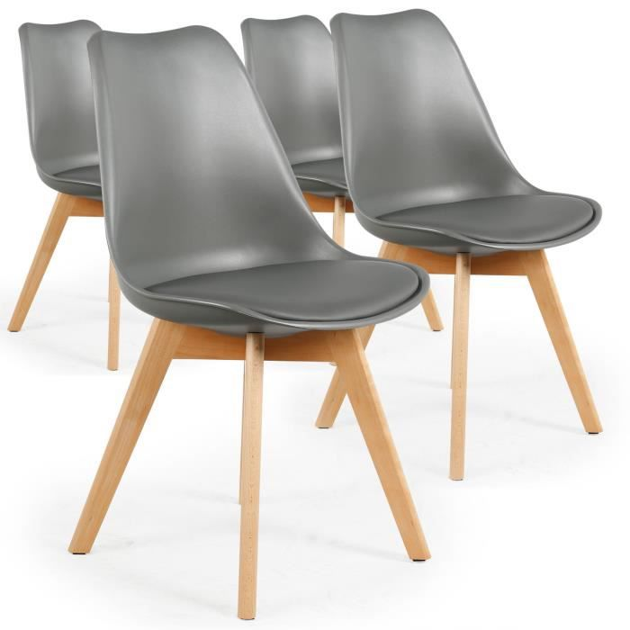 CHAISE Lot De 4 Chaises Style Scandinave Bovary Gris