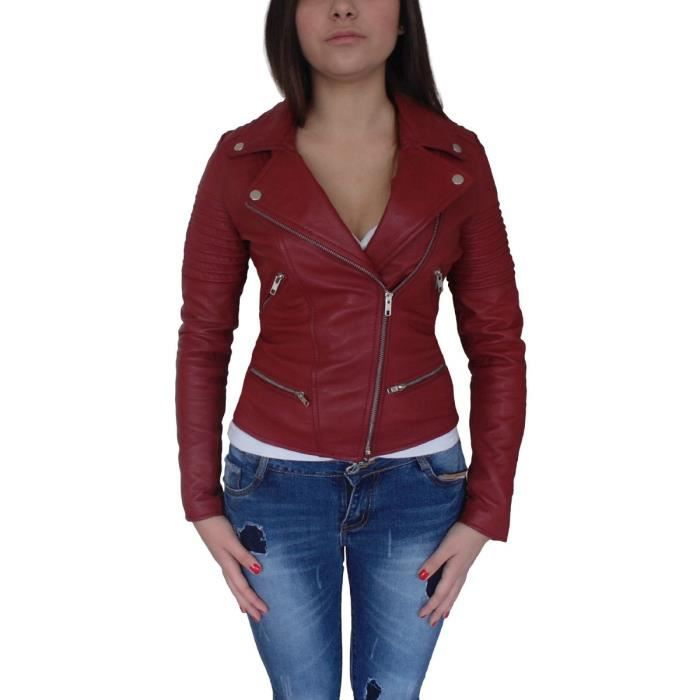 Perfecto Perfecto Femme Femme Rouge Perfecto Cuir Cuir Rouge WBeordCx