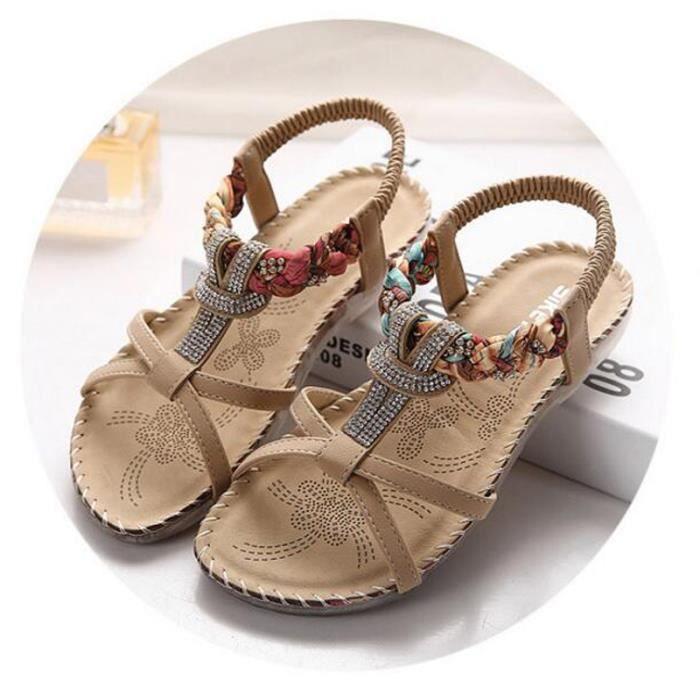 Sandales Femme d'été chaussures Sandale KIANII® Beige 5QLiZ8