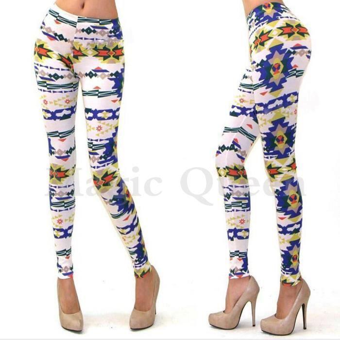 7f8acaeab29 Legging Skinny Pantalon Slim Mince Imprimé Sexy Extensible Taille haute  Femme-Fille élastique Multicolore Optique Tour de Taille