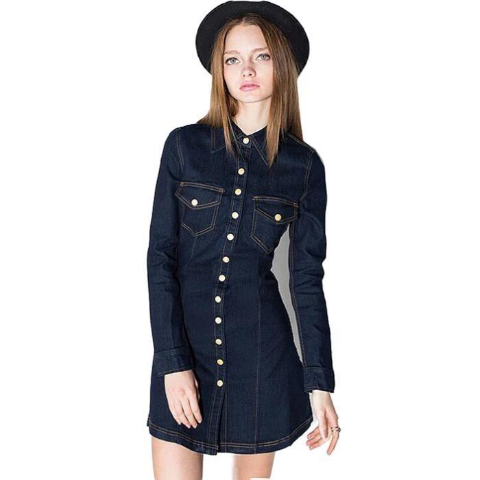 Robe Femme Couleur Unie Bleu Foncé Revers Conception Concise Classique Mode