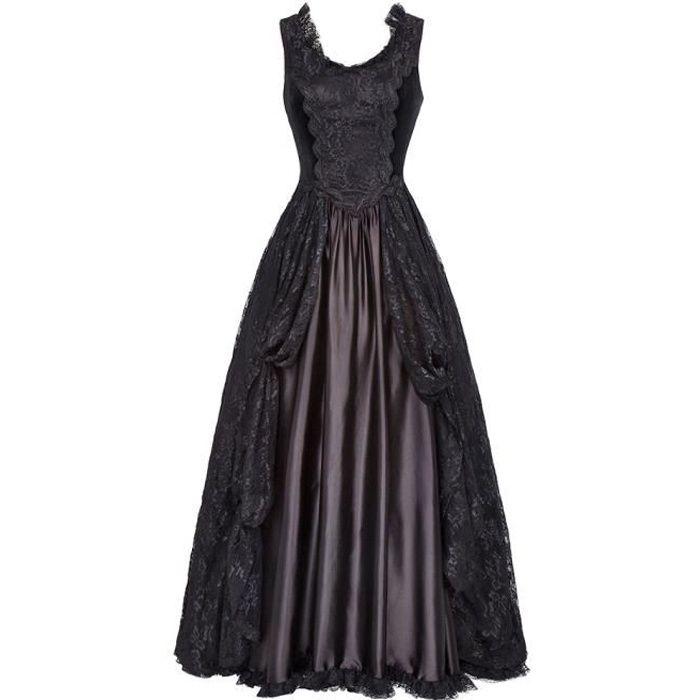 7eab74c4d8d Robe longue noire en dentelle drapée et satin