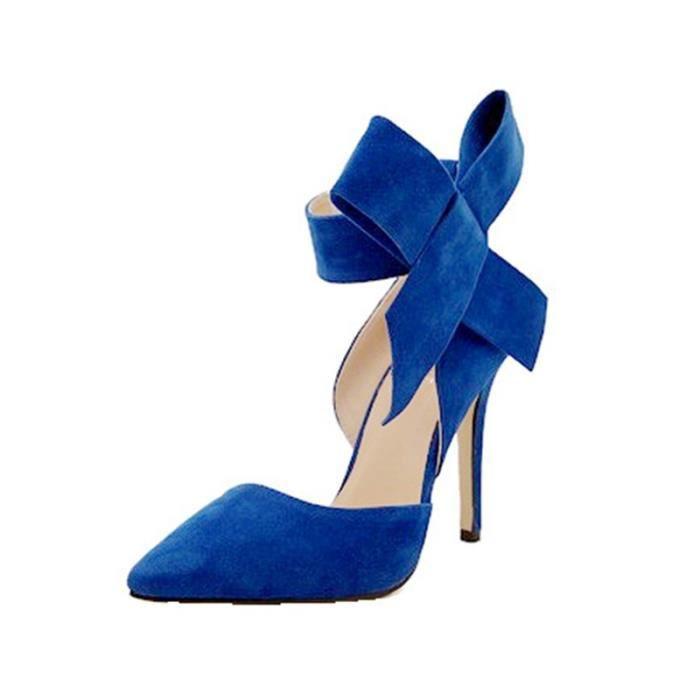 Escarpin à Talon Haut Chaussures à talons hauts pour femmes Sweet Big Bow Pompes Stiletto chaussures Chaussures à talon bout pointu Tlehs1KAf