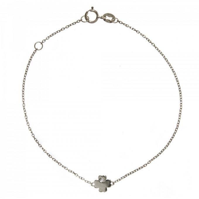 bracelet vertigo lucky me-or blanc - bracelet acier diamant argent femme