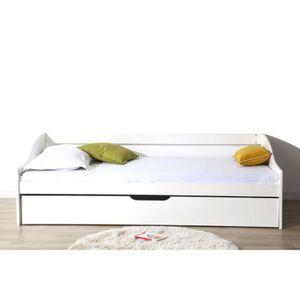 lit complet avec sommier et matelas 90x200 achat vente. Black Bedroom Furniture Sets. Home Design Ideas