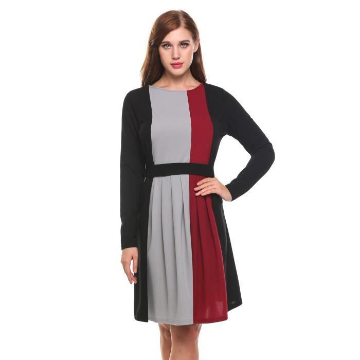 Robe couleur de Contraste longueur longues genou manches femme rcTrqWR8