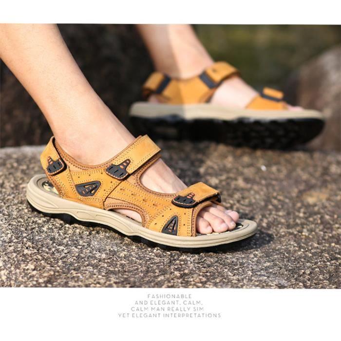 Biencome® Sandales Hommes en Cuir RespirantConfortable Sandales Bout Ouvert - Jaune 2Ya3UPeX